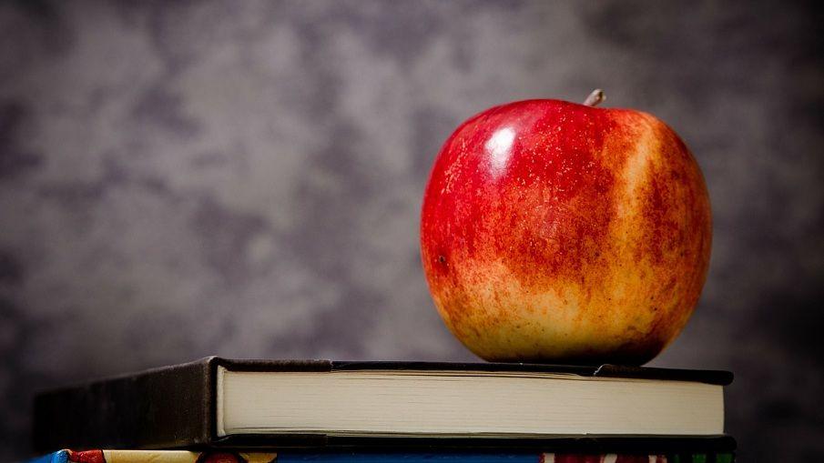 Apfel auf einem Buch